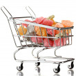 Shopping trolley with jelly candies, isolated on white - Stock Photo