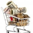 Shopping trolley with dollars and Ukrainicoins, isolated on white — Stock Photo #13847926