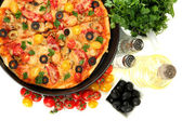 Colorful composition of delicious pizza, vegetables and spices — Stock Photo