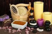 Beautiful spa setting on bamboo background — Stock Photo
