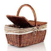 Picnic basket, isolated on white — Foto de Stock