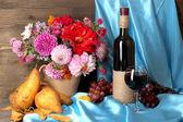 Wonderful autumn still life with fruit and wine — Stock Photo