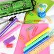 Various school supplies close-up isolated on white — Stock Photo
