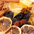 Dried fruits with cinnamon and star anise close-up - Stock fotografie