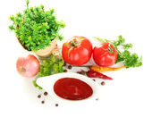 Still life tomatoes ketchup and herbs isolated on white — Stock Photo