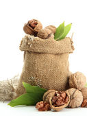 Walnuts with green leaves in burlap bag, isolated on white — Stock Photo
