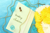 Wedding invitations on decorated table close-up — Stock Photo