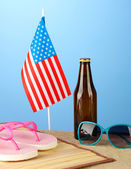 concept of Labor Day in America, on blue background close-up — Foto Stock