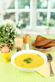 Fragrant soup in white plate on green tablecloth on window background close — Stock Photo