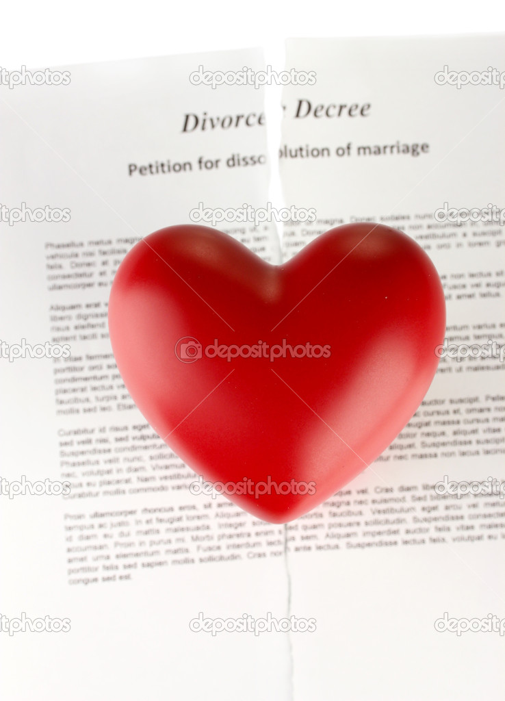 Red heart with torn Divorce decree document, on white background close-up  Stock Photo #13852920