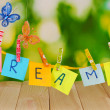 The word Dreams on wooden table on natural background - Stock Photo