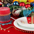 Royalty-Free Stock Photo: Serving Christmas table on white and red fabric background close-up