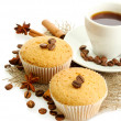 Tasty muffin cakes with spices on burlap and cup of coffee — Stock Photo