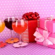 Colorful cocktails with bright decor for glasses on purple background — Stock Photo