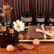 Ingredients for soap making on brown background — Stok Fotoğraf #13870889
