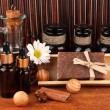 Ingredients for soap making on brown background — Stockfoto #13870889