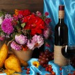 Wonderful autumn still life with fruit and wine - Stock Photo
