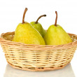 Ripe pears in wicker basket isolated on white — Stock Photo #13871163
