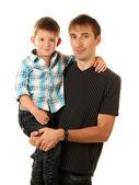 Porträtt av pappa och son isolerad på vit — Stockfoto
