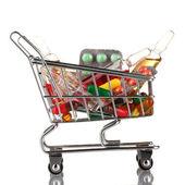 Shopping vagn med piller, isolerad på vit — Stockfoto