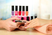 Manicure process in beauty salon, close up — Foto de Stock