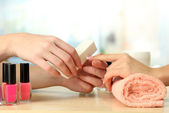 Manicure process in beauty salon, close up — Foto Stock