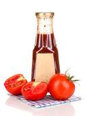 Tomato sauce in bottle isolated on white — Stock Photo