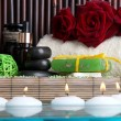 Beautiful spa setting near pool on bamboo background — Stock fotografie