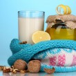 Stock Photo: Healthy ingredients for strengthening immunity on blue background