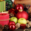 Composition from Christmas decorations close-up on wooden table on wooden b — Stock Photo #13898370