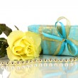 Beautiful yellow rose with wonderful gift in blue box isolated on white — Stock Photo #13925032