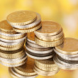Euro coins on color background — Stock Photo