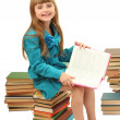 Little girl with a books isolated on white - Stock Photo