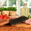 Composition of raw meat, vegetables and spices on wooden table close-up — Stock Photo #13926066