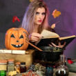 Halloween witch preparing poison soup in her cauldron on color background — Stock Photo #13927172