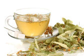 Glass cup of tea with linden isolated on white — Foto Stock