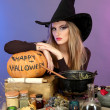 Halloween witch preparing poison soup in her cauldron on color background — Stock Photo #13952689