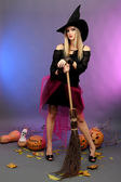 Halloween witch with broom on color background — Stock Photo
