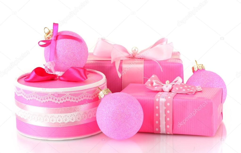 Colorful pink gifts with pink Christmas balls isolated on white — Stock Photo #13969548