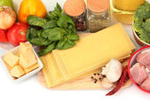 Lasagna ingredients isolated on white — Stock Photo