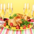 Banquet table with roast chicken on orange background close-up. Thanksgivin — Stock Photo #14030228