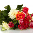 Bouquet of beautiful roses on white background close-up — Stock Photo #14032871