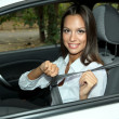 Beautiful young womin car — Stock Photo #14033961