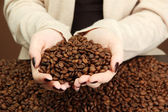 Female hands with coffee beans, close up — Stock Photo
