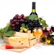 Bottles and glasses of wine, assortment of grapes and cheese isolated on wh — Stock Photo
