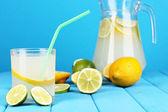 Citrusovou limonádu v džbán a sklenice citrusových kolem na dřevěný stůl na bl — Stock fotografie