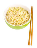 Asian noodles in bowl isolated on white — Stock Photo