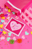 Beautiful composition of paper valentines and decorations on pink backgroun — 图库照片