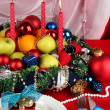 Serving Christmas table on white and red fabric background - Foto de Stock
