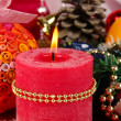 Christmas candle on serving Christmas table background close-up - Foto de Stock